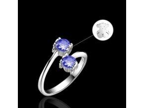 Dámsky prsteň, modré kamienky, macko, bižutéria