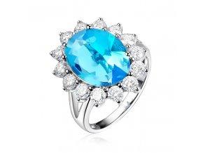 Prsteň pre ženu so zirkónmi, blankytny kamienok, bižutéria