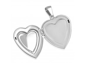 Medailón 3D srdce na fotky z ocele, strieborná farba, povrch s gravírovaním (1)