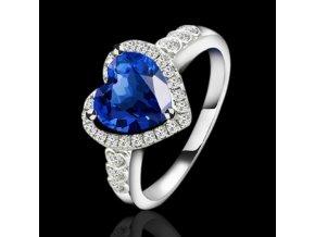 Dámsky prsteň, kráľovsky modré srdce, číre zirkóny, bižutéria