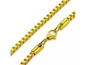 Retiazka na krk z chirurgickej ocele, zlatá farba, vzor Cube 2,40600 mm