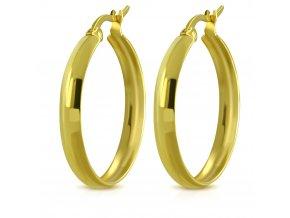 Hladké okrúhle náušnice pre ženu, oceľ zlatej farby 23 mm