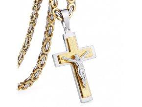 Pánska retiazka s krížom, dve farby, Ježiš Kristus, oceľ retiazka 590 mm