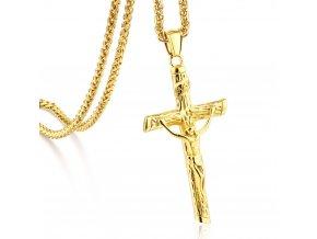 Pánska retiazka Spiga s krížom, oceľ zlatej farby, Ježiš na kríži (1)