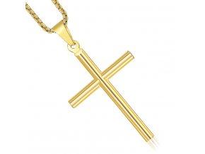 Retiazka s lesklým hladkým krížom, zlatá farba, chirurgická oceľ