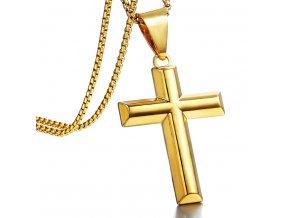 Retiazka s hladkým jednoduchým krížom, zlatá farba, chirurgická oceľ