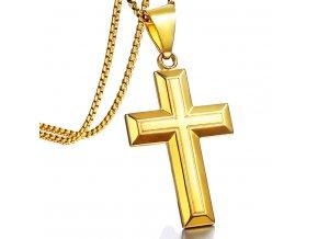 Retiazka s ryhovaným latinským krížom, zlatá farba, chirurgická oceľ