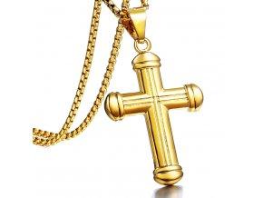 Retiazka s ryhovaným krížom, chirurgická oceľ zlatej farby