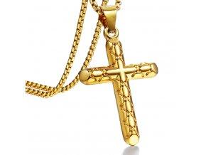Retiazka s gravírovaným latinským krížom, chirurgická oceľ zlatej farby (1)