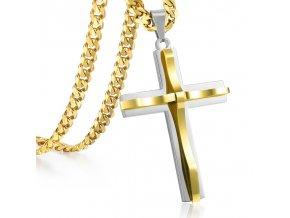 Pánska retiazka s krížom, zlatá a strieborná farba, oceľ, vlnka