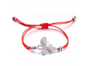 Červený náramok s príveskom, motýľ s čírymi zirkónmi bižutéria (1)