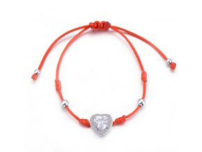 Červený náramok, srdce s čírym zirkónom, strieborná farba bižutéria (1)