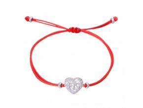 Červený náramok, srdce s čírymi zirkónmi striebornej farby bižutéria (1)