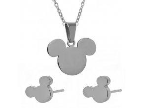 Dámsky prívesok a náušnice, Mickey Mouse striebornej farby, chirurgická oceľ
