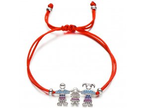 Červený náramok s príveskom, rodina, tri deti so zirkónmi bižutéria (1)