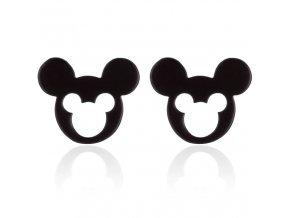 Puzetové náušnice z chirurgickej ocele, Mickey Mouse čiernej farby, výrez