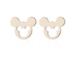 Puzetové náušnice z chirurgickej ocele, Mickey Mouse zlatej farby, výrez (1)