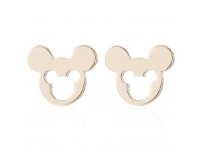Puzetové náušnice z chirurgickej ocele, Mickey Mouse zlatej farby, výrez