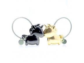 Kľúčenky pre dvoch, jednorožce a lanko, zlatá a čierna farba (1)