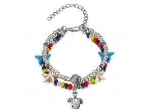 Dvojitý náramok na nohu, farebné korálky, hviezdovky, prívesok korytnačka bižutéria (1)