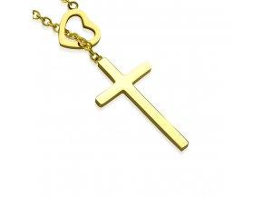 Náhrdelník na krk, srdce a kríž, zlatá farba, chirurgická oceľ (1)