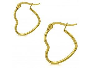 Náušnice srdce pre ženu z chirurgickej ocele, zlatá farba 22 mm