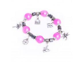 Dámsky náramok na ruku, ružové guličky, prívesky, trblietky, bižutéria