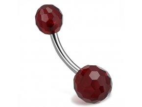 Piercing do pupka z ocele, tmavočervené brúsené Disco guličky