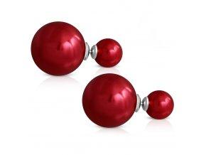 Dvojité guličkové náušnice z ocele, červená lesklá farba