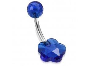 Piercing do pupka z chirurgickej ocele, modrý kvietok