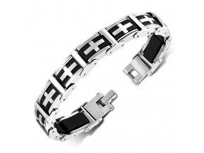 Pánsky náramok na ruku z ocele, kríž, strieborná a čierna farba (1)