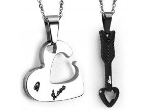 Prívesok pre dvoch z ocele, srdce a šíp, čierna a strieborná farba (1)