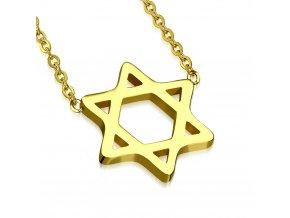 Dámsky náhrdelník na krk z ocele, Dávidova hviezda, zlatá farba