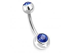 Piercing do pupka z chirurgickej ocele, guličky s modrým zirkónom