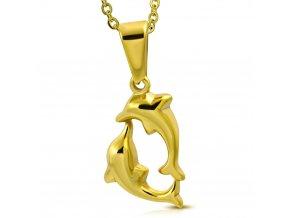 Dámsky prívesok z chirurgickej ocele, delfíny zlatej farby