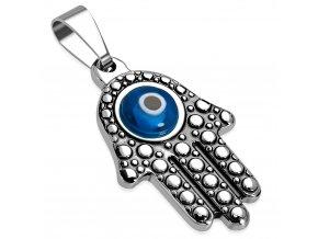 Prívesok z ocele, ruka Fatimy striebornej farby, modré diabolské oko (1)