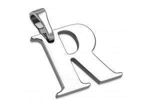 Písmenko R na retiazku, prívesok z ocele striebornej farby (1)
