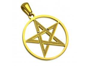 Prívesok pentagram z chirurgickej ocele, zlatá farba a kruh (1)