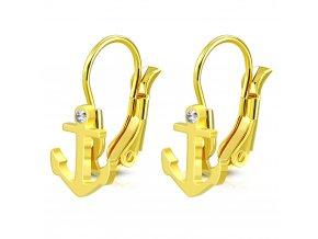 Dámske visiace náušnice z ocele zlatej farb, kotvica a malý zirkón (1)