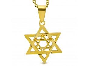 Dvojitý prívesok Dávidova hviezda z chirurgickej ocele, zlatá farba (2)