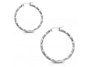Stočené náušnice kruhy z ocele, strieborná farba 30 mm