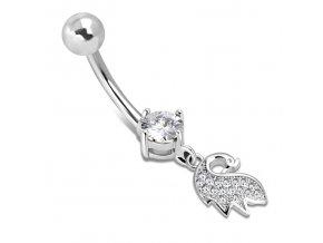 Piercing do brucha z ocele, malá labuť a číry zirkón (1)