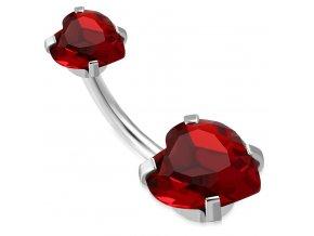 Piercing do pupka z chirurgickej ocele, červené zirkónové srdce (1)