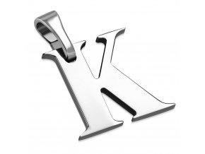 Písmenko K na retiazku, prívesok z ocele striebornej farby (1)
