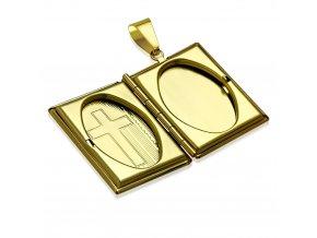 3D medailón na fotky z chirurgickej ocele, Biblia zlatej farby, gravírovanie (2)