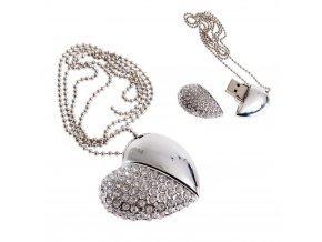 USB šperk pre ženu, srdce striebornej farby farby s čírymi zirkónmi 8 GB