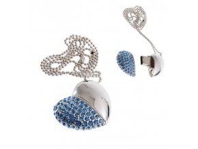 USB šperk pre ženu, náhrdelník srdce s modrými zirkónmi 8 GB