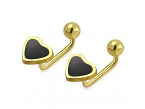 Detské šrubovacie náušnice z ocele zlatej farby, gulička a čierne srdce