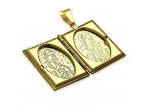 3D medailón na fotky z ocele, gravírovaná Panna Mária, zlatá farba (1)