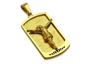 Prívesok známka z chirurgickej ocele, zlatá farba, Ježiš Kristus (1)